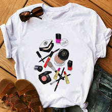 Load image into Gallery viewer, Red Lipstick T Shirt Women Perfumer Floral T-Shirts Girl Summer Shirt Lady Casual Sexy Lip T-shirt Gift for Girlfriend