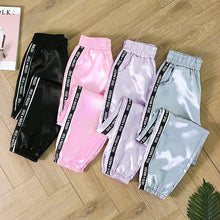 Load image into Gallery viewer, MoneRffi Big Pocket Satin Highlight Harem Pants Women Glossy Sport Ribbon Trousers BF Style Harajuku Joggers Women Sports Pants