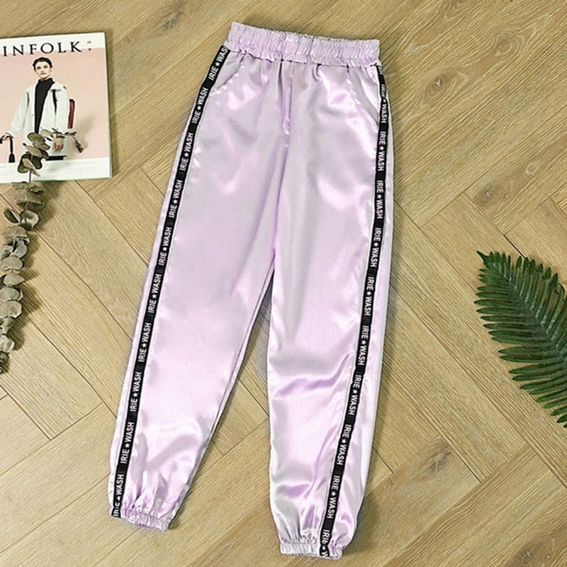 MoneRffi Big Pocket Satin Highlight Harem Pants Women Glossy Sport Ribbon Trousers BF Style Harajuku Joggers Women Sports Pants