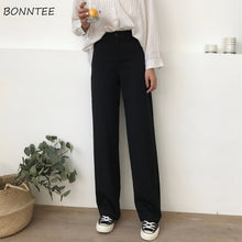 Load image into Gallery viewer, Pants Women Solid Loose High Waist Casual Long Trousers Trendy All-match Pockets Womens Korean Style Soft Simple Students Autumn