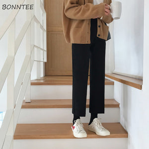 Pants Women Ankle-length Simple Elegant All-match Black Slim Students Womens Straight Trousers Korean Style High Quality Female