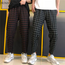 Load image into Gallery viewer, Pants Women Plaid Retro All-match Korean Style Pockets Harajuku Couple Loose Ankle-Length Trousers Straight Hip Hop Womens Chic