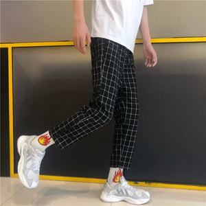 Pants Women Plaid Retro All-match Korean Style Pockets Harajuku Couple Loose Ankle-Length Trousers Straight Hip Hop Womens Chic