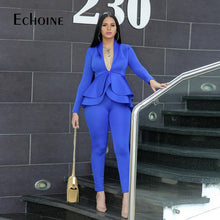 Load image into Gallery viewer, Winter 2 Piece Set Blazer Women Work Wear Full Sleeve Ruffles Pencil Pants Suit Two Piece Set Office Lady Outfits baclk uniform