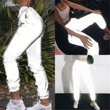 Load image into Gallery viewer, Women Casual Harem Sweatpants Reflective Pants Loose Streetwear Hip Hop Dance Party Night Club Trousers Pantalon W3