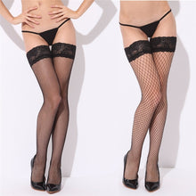 Load image into Gallery viewer, Sexy Mesh Stockings Women Sexy Lace Top Sheer Stay Up Knee Thigh High Silicone Stockings Fishnet Pantyhose Woman meias hosiery