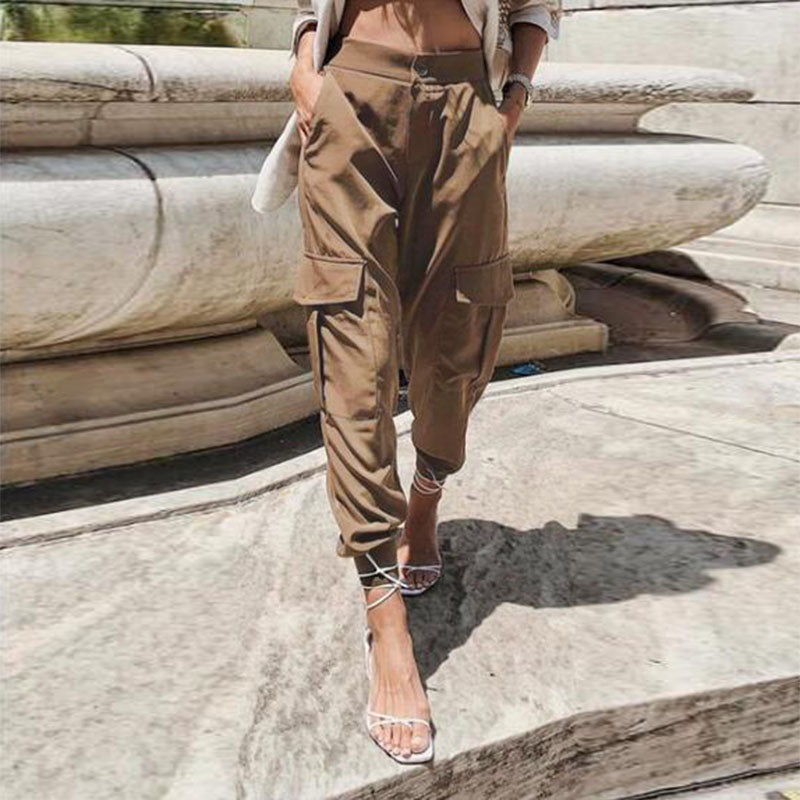 ZANZEA Women High Waist Cargo Pants Loose Streetwear Pants Baggy Tactical Trousers Solid Joggers Turnip Pants Harem Pantalon