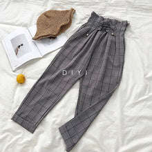 Load image into Gallery viewer, CamKemsey Japanese Harajuku Casual Pants Women 2019 Fashion Lace Up High Waist Ankle Length Loose Plaid Harem Pants