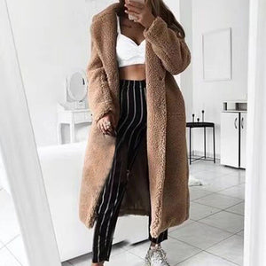 LOOZYKIT Autumn Winter Fur Women 2019 Casual Loose Solid Long Teddy Coat Female Vintage Thick Faux Fur Jackets Plush Overcoat