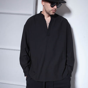 Hair stylist nightclub hipster oversize loose V neck long sleeve shirt large round set top long men's shirt