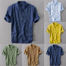 Load image into Gallery viewer, Summer Men's Cool And Thin Breathable Collar Hanging Dyed Gradient Cotton Shirt M-3XL best gift Purchasing new