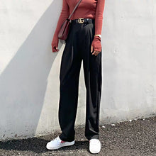 Load image into Gallery viewer, BGTEEVER Chic High Waist Loose Straight Pants Women Office Ladies Suit Pant 2019 Autumn Female Long Trousers pantalon femme
