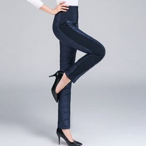 Winter Women Down Pants Plus Size Velvet Trousers Thickening Slim Thermal Female Warm Trousers Legging High Waist Pants