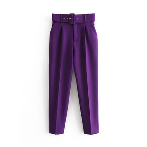 New Womens casual purple Pant Capris with belt high waist yellow chic office lady Pant Trousers Streetwear Female zoravicky Pant