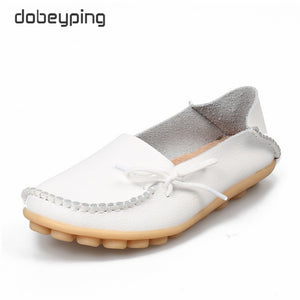 New Moccasins Women Flats 2019 Autumn Woman Loafers Genuine Leather Female Shoes Slip On Ballet Bowtie Women's Shoe Size 35-44