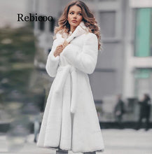 Load image into Gallery viewer, New Womens White Genuine Real Rex Rabbit Fur long Winter Hooded Coat For Female Fashion Luxury Natural Fur Jacket