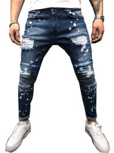 Load image into Gallery viewer, Men's Painted Skinny Slim Fit Straight Ripped Distressed Pleated Knee Patch Denim Pants Stretch Jeans