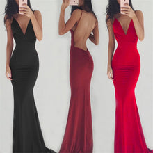Load image into Gallery viewer, Women Party Long Dress Sheer Spaghetti Straps Sleeveless V-Neck Sexy Backless Elegant Maxi Chic Floor-Length Evening Ball Gown