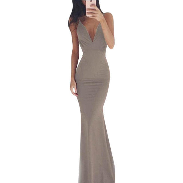 Women Party Long Dress Sheer Spaghetti Straps Sleeveless V-Neck Sexy Backless Elegant Maxi Chic Floor-Length Evening Ball Gown