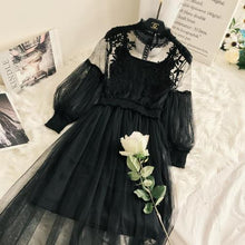 Load image into Gallery viewer, New Arrivals Women Lace Flower Dress Long Gauze Lantern Sleeve Voile Long Dress Female Retro Hook Princess Dress 2 Piece Set