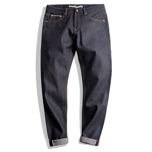 Maden Mens 14.5oz Classic Slim Straight Fit Raw Jeans Indigo Selvedge Denim Jeans