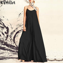 Load image into Gallery viewer, VONDA Women Dress 2019 Summer Beach Sexy Spaghetti Strap Sleeveless Long Maxi Dresses Casual Loose Plus Size Vestidos