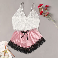 Load image into Gallery viewer, CDJLFH 2Pcs Lingerie Set Women 2020 Summer Sleeveless Sexy Bra Set Floral Lace Cami Tops Satin Trim Shorts And Bra Underwear Set