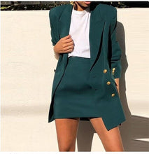 Load image into Gallery viewer, Women's Suit Vintage Women Skirt Suit Green Notched Blazer Jacket 2020 Spring Office Wear Women Suit With a Skirt Female Sets