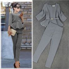 Load image into Gallery viewer, Suzhan Spring Autumn Fashion Women's Business Pants Suits  Pattern Ruffles Suits for Women 2 Pieces Set Work Office Lady Suit