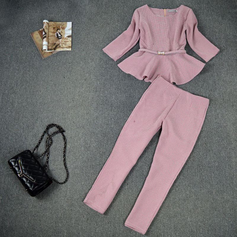 Suzhan Spring Autumn Fashion Women's Business Pants Suits  Pattern Ruffles Suits for Women 2 Pieces Set Work Office Lady Suit