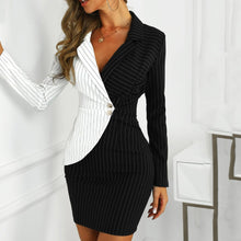 Load image into Gallery viewer, Fashion suit women blazer dress Turn Down Neck Long Sleeve Buttons Striped Patchwork Bodycon Blazer Dress Wholesale Free Ship Z4