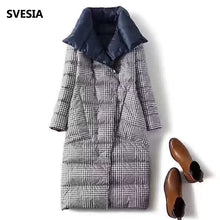 Load image into Gallery viewer, Double Sided Women's Down Jacket Long Winter Turtleneck White Duck Down Coat Female Double Breasted Plus size Warm Plaid Parkas