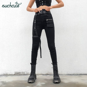 SUCHCUTE Women's Pants In a Cage Slim Gothic Pants Korean Style Trousers Casual Korean Style Streetwear Harajuku Female Joggers