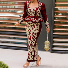 Load image into Gallery viewer, Vintage Black Floral Printed Long Evening Party Dress Long Sleeve 2020 Elegant Plus Size Bodycon Maxi Peplum Ruffles Dress Retro