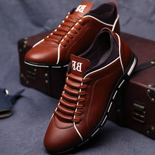Load image into Gallery viewer, leather shoes men massage 2019 spring/summer man's derby shoes fashion lace-up solid wedges black dress shoes leather 39-48