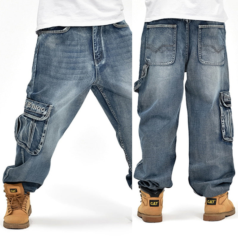 HOT New 2019 Large Size 30-44 46 Jeans Fashion Loose Big Pockets Hip-Hop Skateboard Casual Men Denim Blue & Black Design Brand