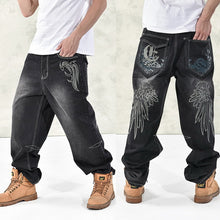Load image into Gallery viewer, HOT New 2019 Large Size 30-44 46 Jeans Fashion Loose Big Pockets Hip-Hop Skateboard Casual Men Denim Blue & Black Design Brand
