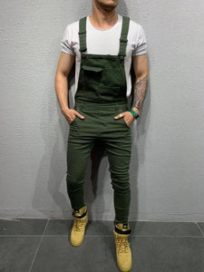 new 2019 Hot style overalls with multiple pockets and straps for men's casual and slim woven jumpsuit pants