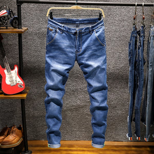 Spring Autumn  Men's Elastic Cotton Stretch Jeans Pants Loose Fit Denim Trousers Men's Brand Fashion Wear and washed jean pants