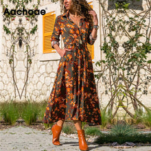 Load image into Gallery viewer, Summer Long Dress Women Floral Print Boho Chiffon Dress Long Sleeve Turn Down Collar Shirt Dress Ladies Casual Dresses Vestidos