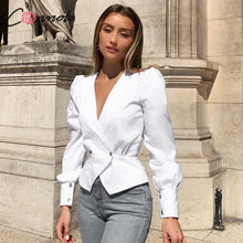 Load image into Gallery viewer, Conmoto Elegant Solid Women Blouse Shirts Vintage Retro Peplum White V Neck Female Blouses Puff Casual Blusa Mujer