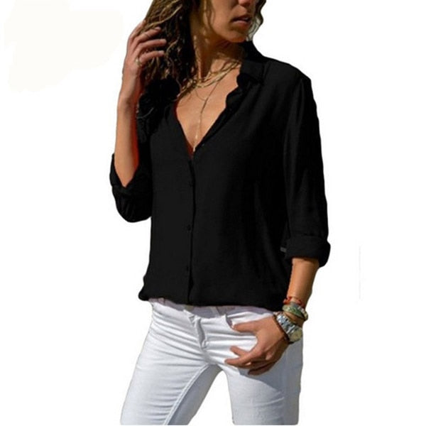 Women White Blouses Basic Selling Button Solid 2019 Autumn Long Sleeve Shirt Female Chiffon Women's Slim Clothing Plus Size Tops