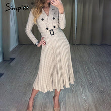 Load image into Gallery viewer, Simplee Vintage pleated belt plaid dress women Elegant office ladies blazer dresses Long sleeve female autumn midi party dress