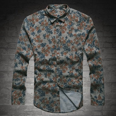 New Fashion Casual Men Shirt Long Sleeve Europe Style Slim Fit Shirt Men High Quality Cotton Floral Shirt S2124