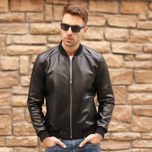Load image into Gallery viewer, Large Size 5XL Sheepskin Slim Aviation Genuine Leather Bomber Jacket Men Real Leather Flights Jacket Black Aviator Pilot Coats