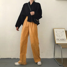 Load image into Gallery viewer, HOUZHOU Winter Corduroy Pants Women Korean Students Straight High Waist Trousers Women Loose Casual Wide Leg Pants Female