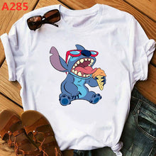 Load image into Gallery viewer, Fashion Women Cartoon T-Shirt Big Mouth Happy Cute Lilo Stitch Tshirts Female Print Casual T Shirt Casual Tops