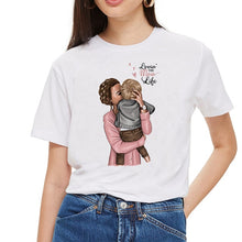 Load image into Gallery viewer, SexeMara Super Mom T shirt Women Mother's Love Print White T-shirt Harajuku Mama TShirt Vogue Tops tee shirt Femme Vogue Summer