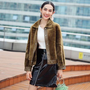 Coat Winter Autumn Women 2020 Korean Style Short Real Fur Coat Natural Sheep Shearing Coats Leather Fur Jacket WYQ1682 s