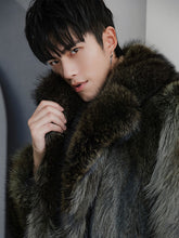 Load image into Gallery viewer, Winter Real Fur Coat Men Long Natural Raccoon Fur Jacket Warm Luxury Coat Men Overcoat Winter Fur Jackets 18150-2 KJ3441